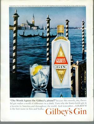 """1964 Gilbey's Gin """"World Agrees"""" Playboy Vintage Print Ad Advertisement 1960s"""