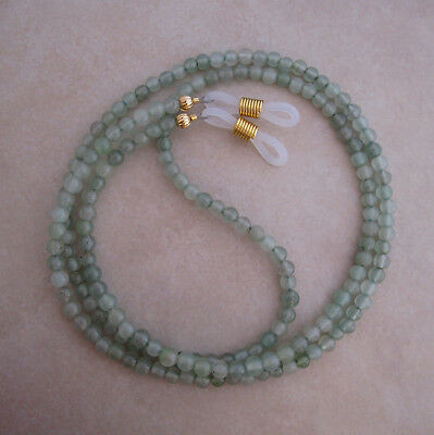 Handcrafted green aventurine reading eyeglass chain holder  lanyard gold ends