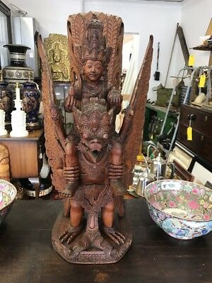 Antique Temple Wood Carving Vishnu Riding Garuda 80cm High