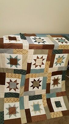 HANDMADE LUCKY STAR  QUILT TOP BROWNS, BLUES & CREAMS  (unfinished)