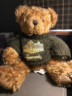 Lovely Brown Harrods Knightsbridge Bear With Green Jumper. Gorgeous.