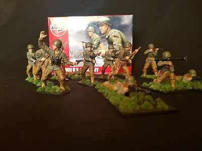 1/32 Wwii Us Infantry Airfix Professionally Painted Boxed X 14 Full Set