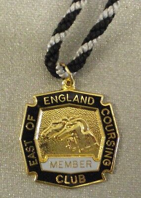 EAST OF ENGLAND COURSING CLUB MEMBER 1998-99 Enamel Badge & Cord Greyhound