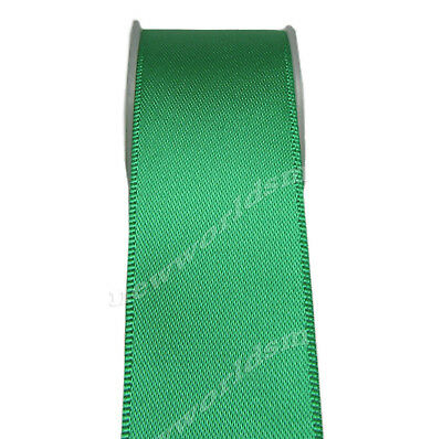"""4y 57mm 2 1/4"""" Fern Green Premium Double Faced Heavy Satin Ribbon Eco FREE PP"""