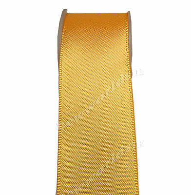 """4y 57mm 2 1/4"""" Gold Premium Single Faced Wide Heavy Satin Ribbon Eco FREE PP"""