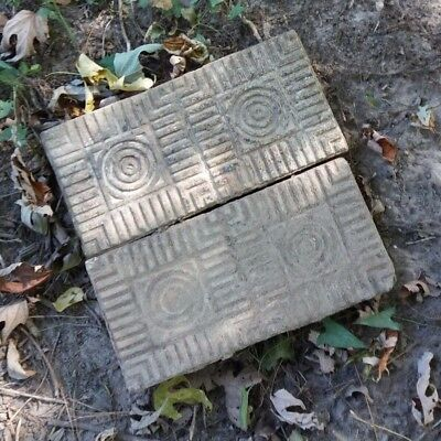 Antique Street Paver Geometric art deco Sidewalk Brick Tile Garden Vtg