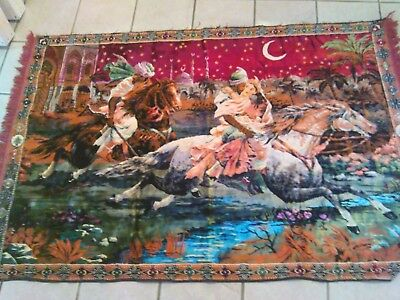 Arabian night's prayer rug tapestry. ,Silk ,wool with dazzling colors.