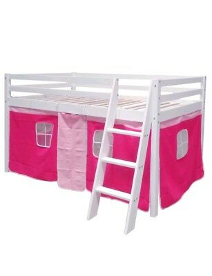 Mid Sleeper Kids *TENT CURTAIN* Cabin Bed Bunk Bed Storage pink
