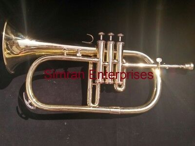 Flugel Horn German Winged Horn In Brass Polish With 3 Valves W/ Case & Mouthpiec