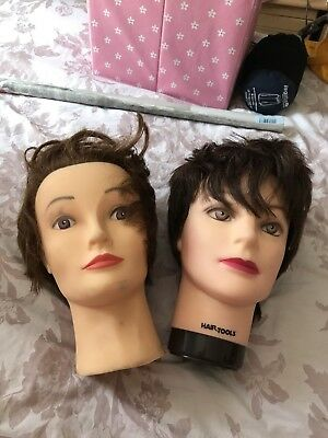 2 Used Hairdressing Dolls Heads Blocks Wig Stand Practice Head