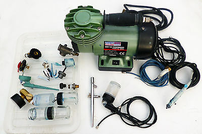 Sealey Mini Airbrush Compressor with various airbrushes.