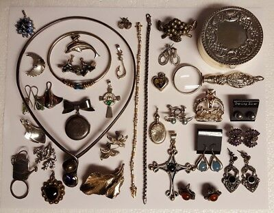 sterling silver scrap lot pins earrings necklace etc 300 grams scrap or resell