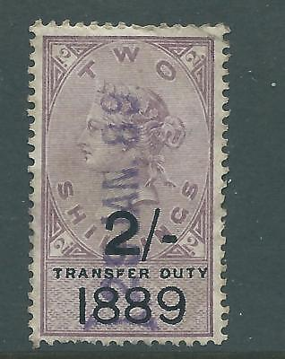 Queen Victoria Fiscal Revenue Stamp Two Shillings Transfer Duty 1889