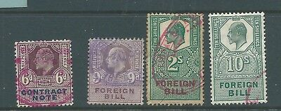King Edward VII Fiscal Revenue Stamps Mix x 4