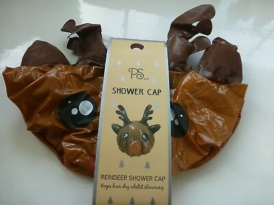 REINDEER Christmas Hair Cover Shower Cap Novelty Bathroom Gift Ladies Girls New