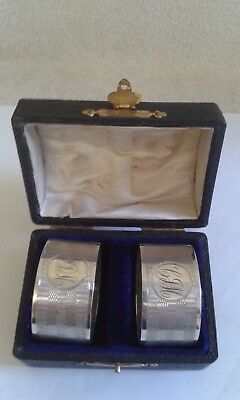 Pair of Cased Antique Silver Napkin Rings with Engine Turned Design - B'ham 1916