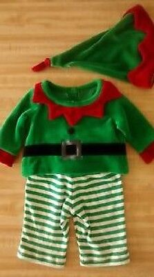 Brand NEW Christmas Holiday Baby ELF Outfit Girl Boy 3pcs Top Pants Hat 0-3M