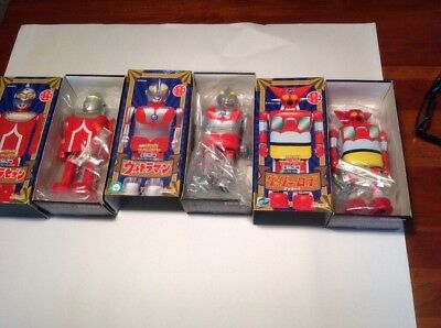 3 Vintage Tin Wind Up Mini Tintoy Character Collection Ultra Man Ultraman Space