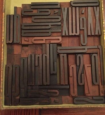 Wooden Letterpress Printing Blocks Font Lowercase 32 Letters Joblot