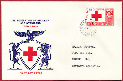 Rhodesia & Nyasaland 1963 FDC 3d Red Cross sg 47 BROKEN HILL Aug 6