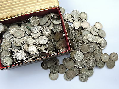40 X GEORGE V/VI SILVER THREEPENCE COINS (1920 -1941) - VARIOUS DATES Ref BX1