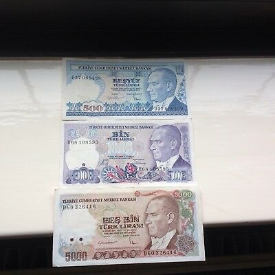 BANKNOTES Turkey Pre- Revaluation TL 500/1000/500 Mint
