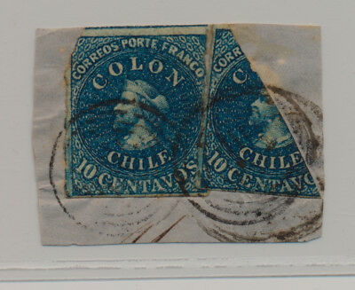 Chile - Colon 10 centavos, Blue, one stamp + bisect on piece
