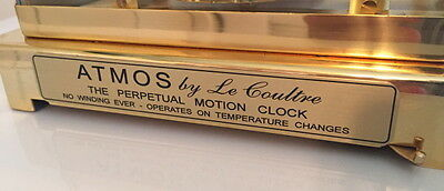 (1) New LeCoultre Atmos Clock Perpetual Motion Plaque! For 540, 528, 526, 519