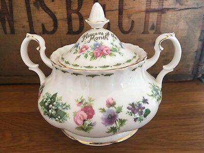 Royal Albert Flowers Of The Month Covered Sugar Bowl