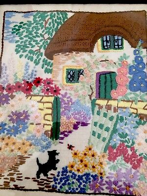Fabulous Vintage Hand Embroidered Cottage Picture