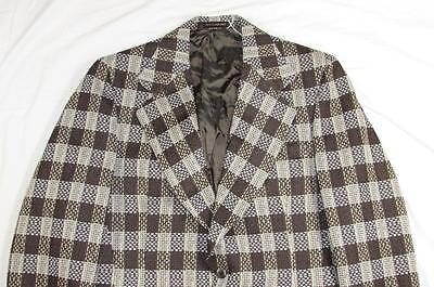 Vtg NOS 60s 70s Plaid Leisure Blazer Sport Coat Jacket W/ Receipt Unworn Sz 40