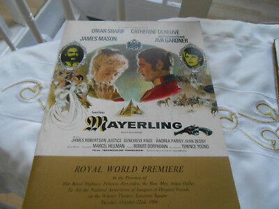 Royal World Premier of Mayerling dated 22.10.1968 at Warner Theatre London