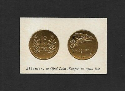 Albania Coin Card by Greiling Germany 1929 - 1926 10QL Kupfer THIS IS NOT A COIN