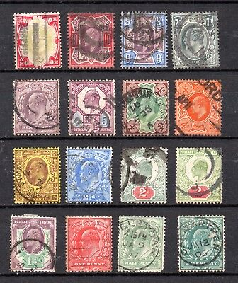 EVII GB Edward VII definitives used collection ½d to 1/- shilling inc SG 278 305