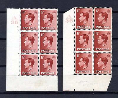 EVIII GB 1936 MINT pair 1½d red-brown SG 459 stamp control cylinder blocks MM