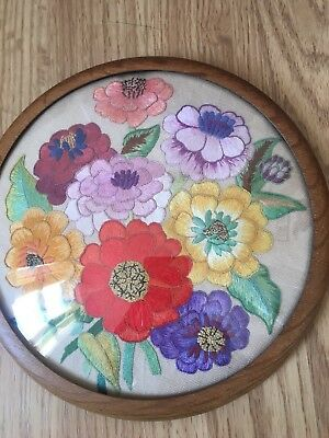 Fabulous Vintage Hand Embroidered Flower Picture