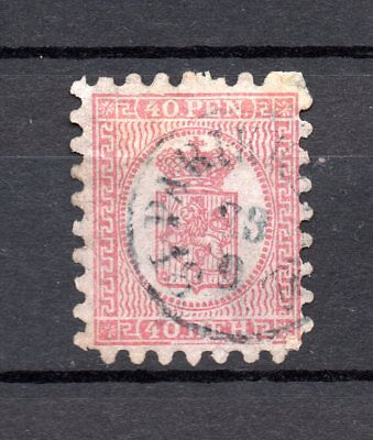 FINLAND 1866 early used stamp 40 Penni pink National Arms poss ribbed paper