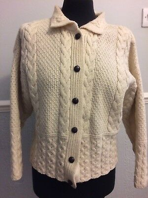 Vintage Cream Wool Aran Cardigan Cable Knit 12