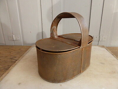 Antique carry tin with hinged lids
