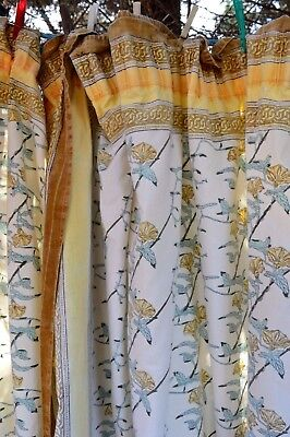 """Vintage Shabby Chic Pretty French Floral Mustard/Blue Curtains - W 91"""" - L 45"""""""