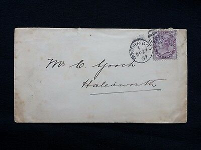 1897 QV SUFFOLK COVER WOODBRIDGE 907 DUPLEX ON 1d LILAC TO HALESWORTH CDS