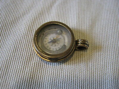Unusual Antique Gilt Brass Watch Fob Compass Stone Integral Thermometer c1880