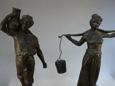 Lady Maid & Gent Antique Victorian Spelter Bronze Metal Statue Figure