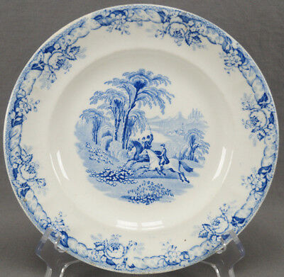 Rare Mid 19th Century Blue Transferware Ironstone Field Sports Hunt Scene Plate