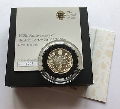 2016 Royal Mint 150th Anniversary Beatrix Potter Silver Proof Fifty Pence 50p