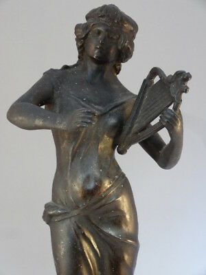 Classical Female with Harp Musician Antique Victorian Spelter Bronze Statue