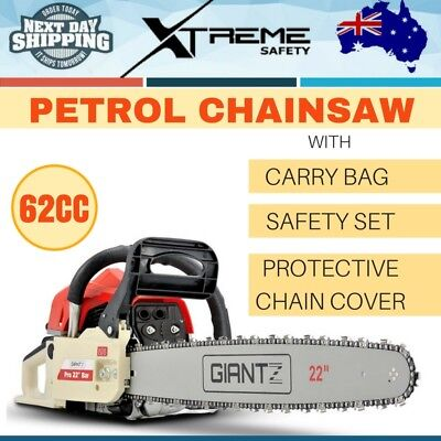 "Giantz 62CC Petrol Chainsaw 22"" Bar 2 Stroke Commercial Chain Saw Tree Pruning"