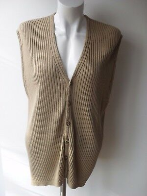 JAEGER Vintage Classic Camel Fine Knit Waistcoat ~ XL ~ Made in UK