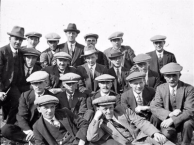 Photographic Glass Slide Crew Members Of Hms Orcoma In Civvies 1918 Naval Image
