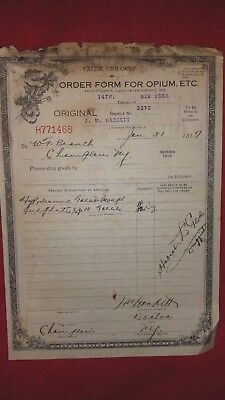 Vintage 1917 Official Order Form For Opium With Attached Morphine Prescription